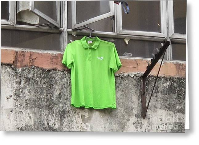 Polo Shirts Greeting Cards - Its Not Easy Being Green Greeting Card by Ethna Gillespie