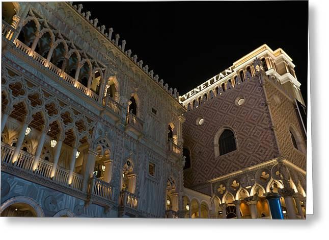 Night Lamp Greeting Cards - Its Not Venice - the Famous Venetian Las Vegas at Night Greeting Card by Georgia Mizuleva