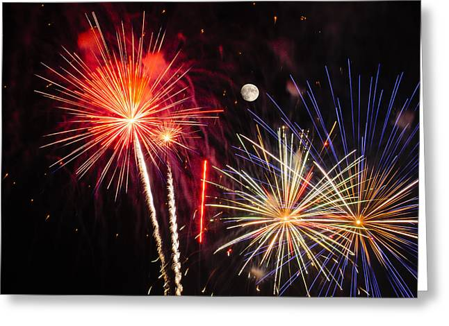 Pyrotechnics Greeting Cards - Its Raining Gold - Fireworks and Moon Greeting Card by Penny Lisowski