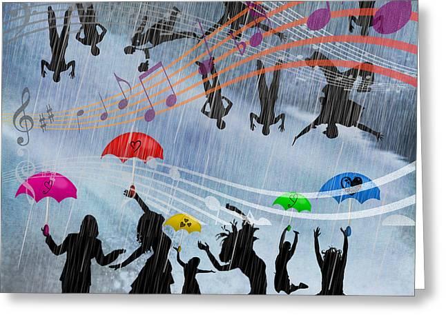Tn Mixed Media Greeting Cards - ITs RAINING MEN HALLELUJAH Greeting Card by EricaMaxine  Price