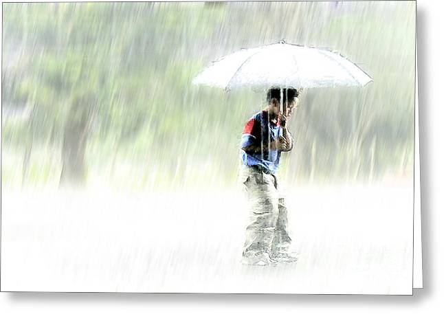 Person Greeting Cards - Its Raining Outside Greeting Card by Heiko Koehrer-Wagner