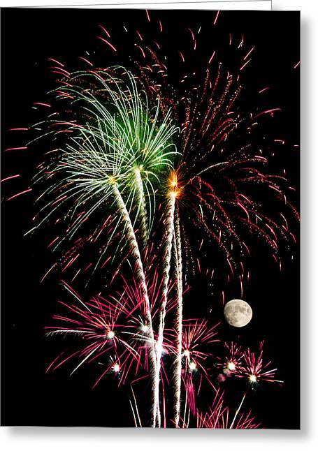 Pyrotechnics Greeting Cards - Its Raining Red drops on the Red Flowers - Fireworks and Moon Greeting Card by Penny Lisowski