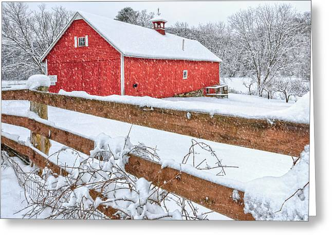 Old Barns Greeting Cards - Its Snowing Greeting Card by Bill  Wakeley