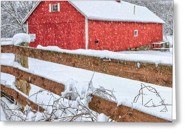 New England Snow Scene Greeting Cards - Its Snowing Square Greeting Card by Bill  Wakeley