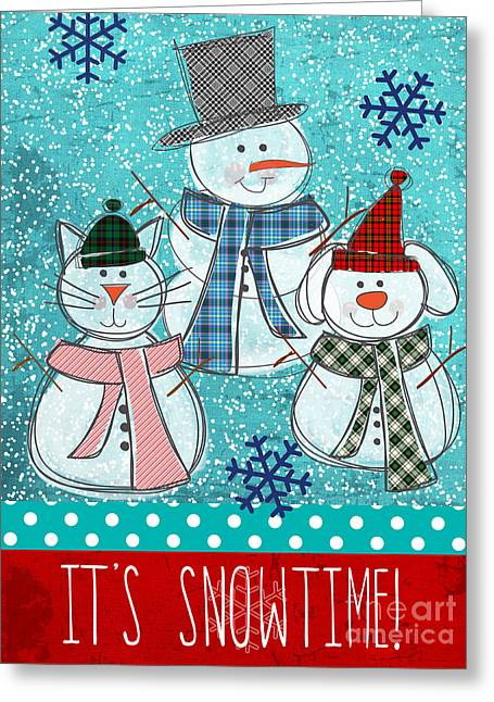 Puppies Greeting Cards - Its Snowtime Greeting Card by Linda Woods