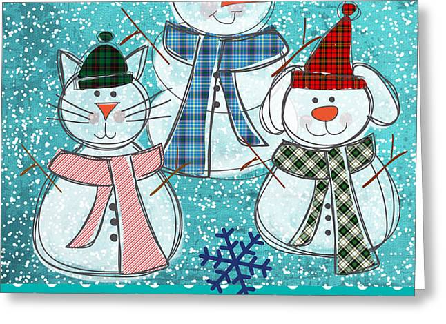 It's Snowtime Greeting Card by Linda Woods