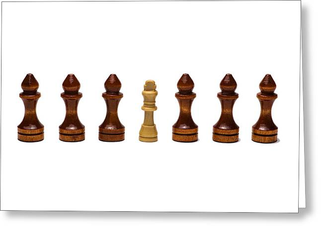 Chessmen Greeting Cards - Its The Retinue That Makes The King 2 Greeting Card by Alexander Senin