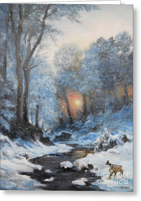 Landscape Framed Prints Greeting Cards - Its Winter Greeting Card by Sorin Apostolescu