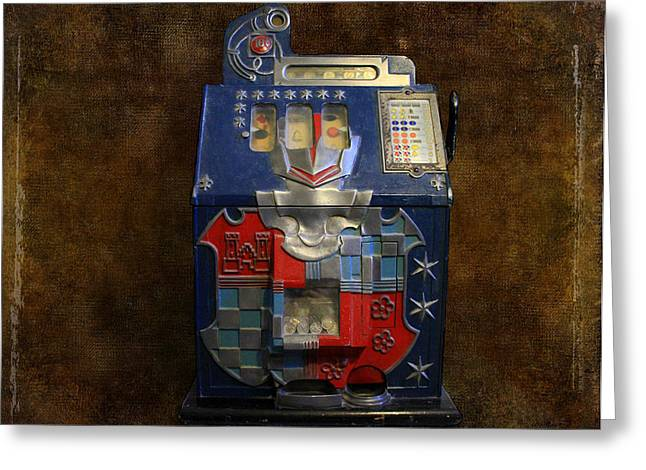 Canon 7d Greeting Cards - Its Your Dime-1936 Antique Slot Machine Greeting Card by Donna Kennedy