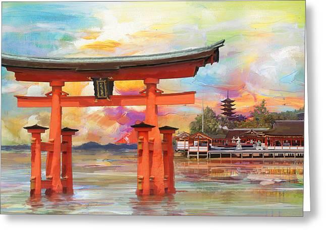 Itsukushima Shrine Greeting Card by Catf