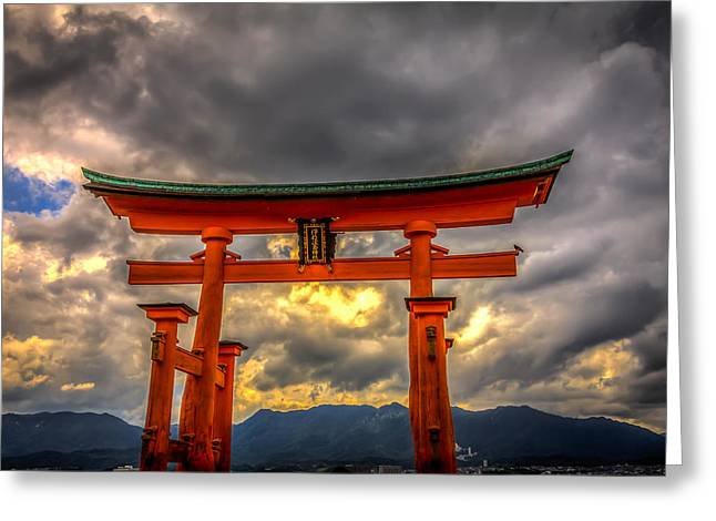 Floating Torii Greeting Cards - Itsukushima Shrine Greeting Card by Gary Fossaceca