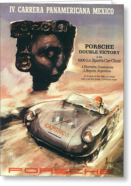 Trial Digital Art Greeting Cards - IV Carrera Panamericana Porsche Poster Greeting Card by Nomad Art And  Design