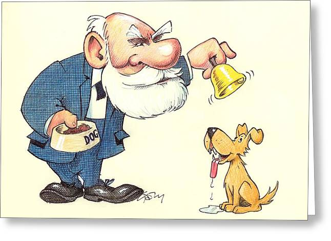 Experiment Greeting Cards - Ivan Pavlov caricature Greeting Card by Science Photo Library