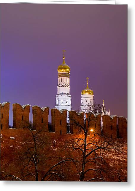Cupola Greeting Cards - Ivan the Great Belfry Of Moscow Kremlin At Night - Square Greeting Card by Alexander Senin