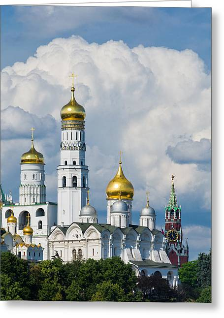 Golden Bell Greeting Cards - Ivan the Great Bell Tower of Moscow Kremlin - Featured 3 Greeting Card by Alexander Senin