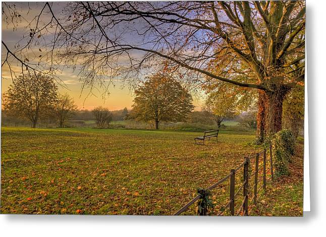 Landscape Prints Greeting Cards - Ivinghoe Autumn Village Sunset Greeting Card by David Dwight