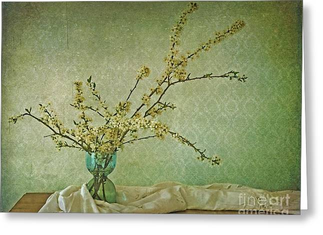 Plant Greeting Cards - Ivory and Turquoise Greeting Card by Priska Wettstein