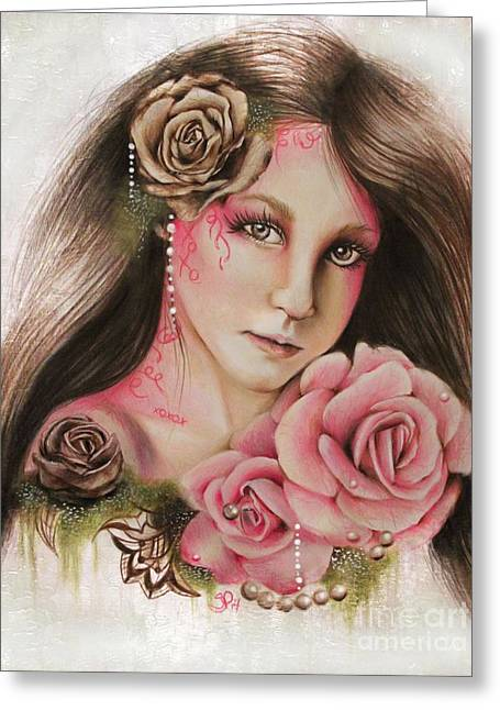 Coloured Mixed Media Greeting Cards - Ivory Rose Greeting Card by Sheena Pike
