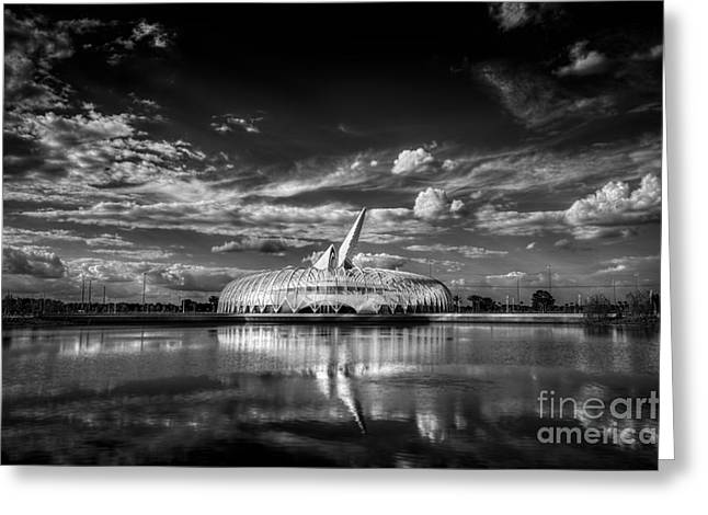 Florida Pond Greeting Cards - Ivory Tower of Knowledge BW Greeting Card by Marvin Spates