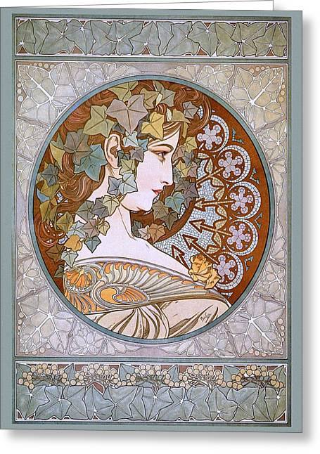 Belle Epoque Mixed Media Greeting Cards - Ivy Greeting Card by Charles Ross