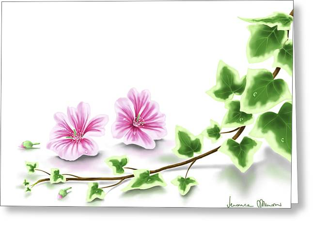 Digital Flower Greeting Cards - Ivy and mallow Greeting Card by Veronica Minozzi