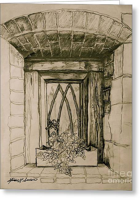 Linda Simon Wall Decor Drawings Greeting Cards - Ivy Greeting Card by Linda Simon