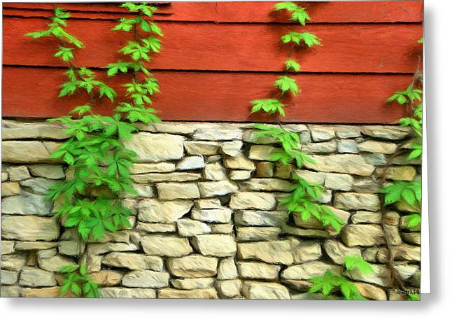 Ivy Greeting Cards - Ivy on Stone and Wood Greeting Card by Jeff Kolker