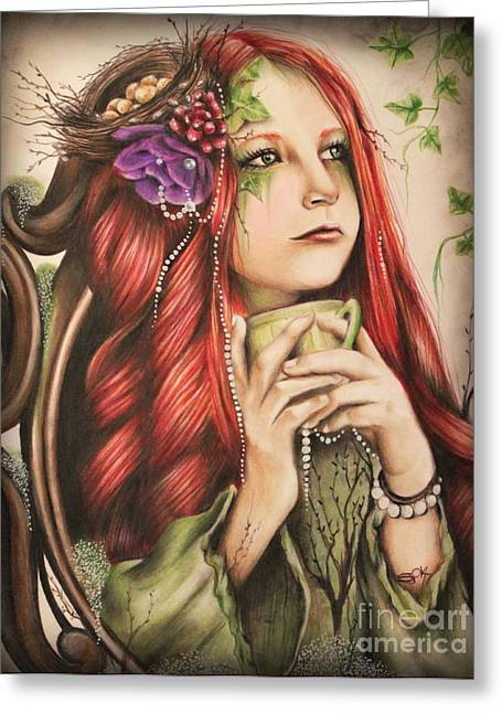 Cup Pastels Greeting Cards - Ivy Greeting Card by Sheena Pike