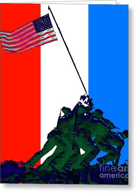 4th July Digital Art Greeting Cards - Iwo Jima 20130210 Red White Blue Greeting Card by Wingsdomain Art and Photography