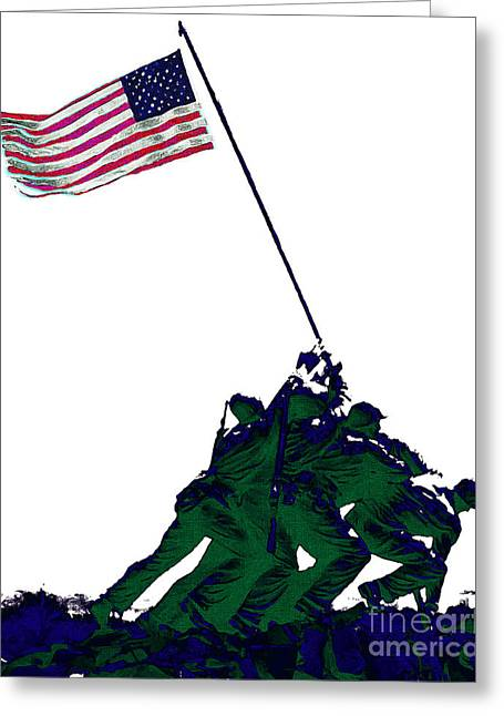 4th July Digital Greeting Cards - Iwo Jima 20130210-white Greeting Card by Wingsdomain Art and Photography