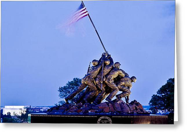 Capitol Greeting Cards - Iwo Jima Memorial At Dusk Greeting Card by Panoramic Images