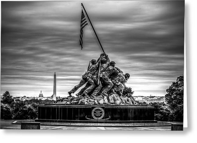 Bravery Greeting Cards - Iwo Jima Monument Black and White Greeting Card by David Morefield