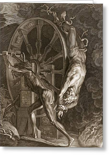 Murderer Greeting Cards - Ixion In Tartarus On The Wheel, 1731 Greeting Card by Bernard Picart