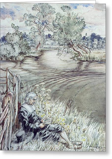 Angling Drawings Greeting Cards - Izaak Walton reclining against a Fence Greeting Card by Arthur Rackham