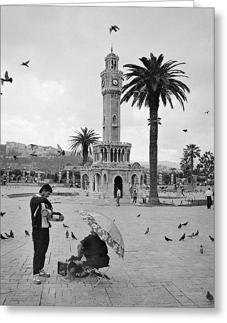 Town Square Greeting Cards - Izmir Clock Tower Greeting Card by Ilker Goksen