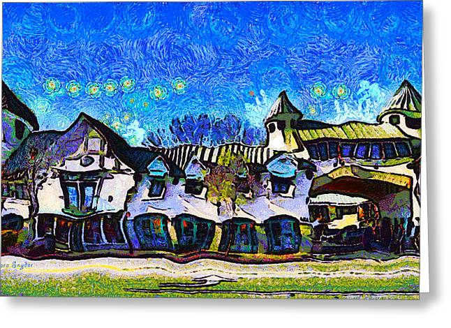 Enhanced Greeting Cards - IZOD Building In Downtown Solvang California Greeting Card by Barbara Snyder