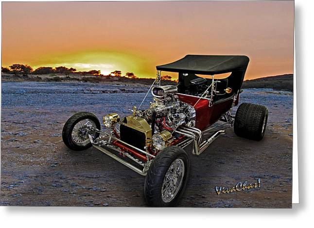 Best Sellers -  - Ford Model T Car Greeting Cards - J B T Bucket Sunset Greeting Card by Chas Sinklier