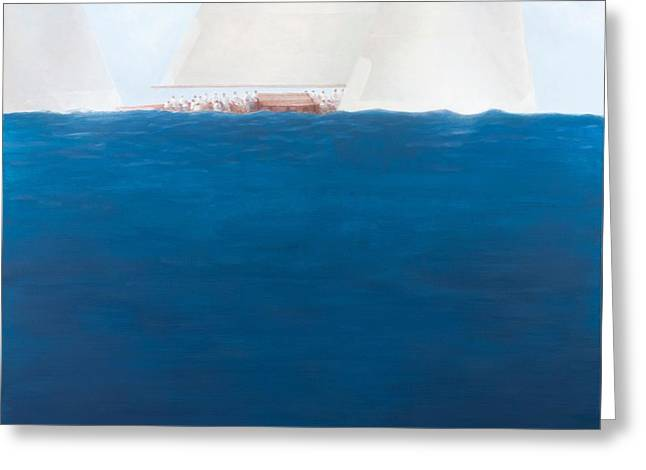 Yacht Photographs Greeting Cards - J Class Racing, The Solent, 2012 Acrylic On Canvas Greeting Card by Lincoln Seligman