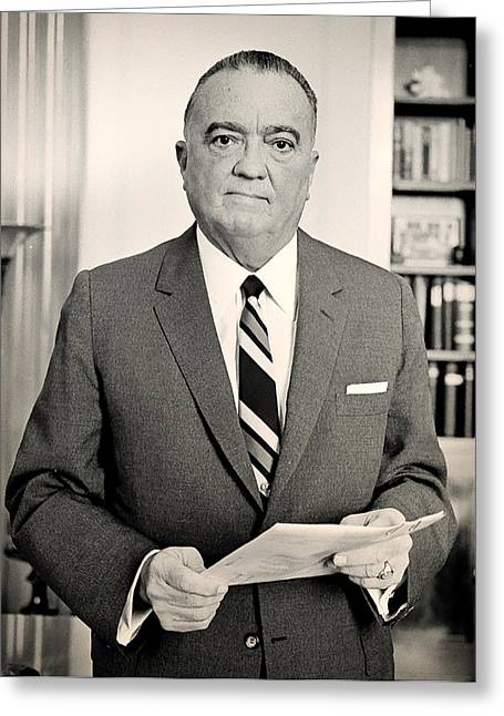 Law Enforcement Greeting Cards - J Edgar Hoover 1961 Greeting Card by Mountain Dreams