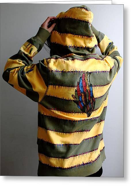 Hoodies Tapestries - Textiles Greeting Cards - J-Hood back Greeting Card by Ema Ishii
