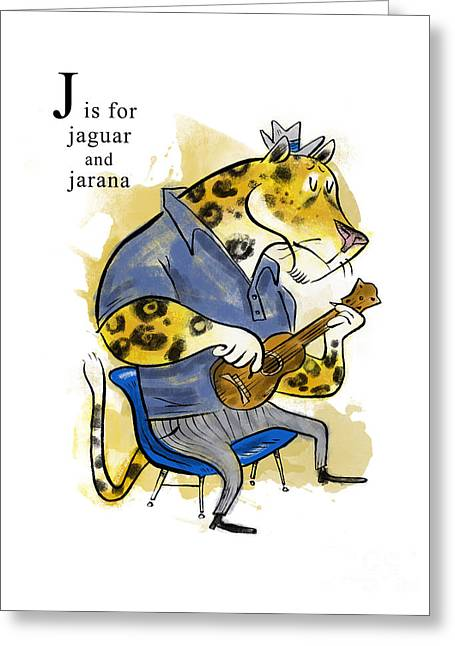 Jaguar Art Greeting Cards - J is for Jaguar Greeting Card by Sean Hagan