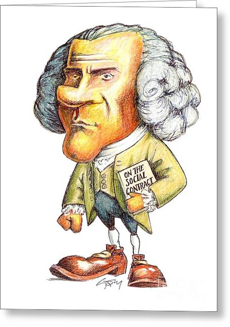 J.-j. Rousseau, Swiss-french Philosopher Greeting Card by Gary Brown