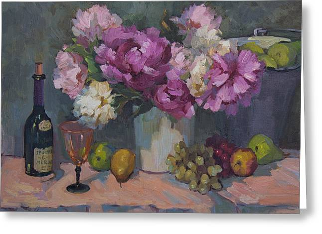 Wine-glass Greeting Cards - J. P. Chenet and Peonies Greeting Card by Diane McClary