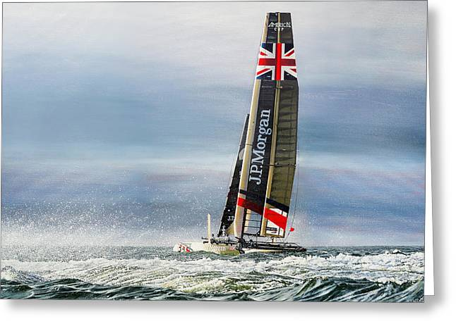 Photorealistic Paintings Greeting Cards - J. P. Morgan Ben Ainslie Racing BAR AC45 Catamaran Americas Cup Greeting Card by Mark Woollacott