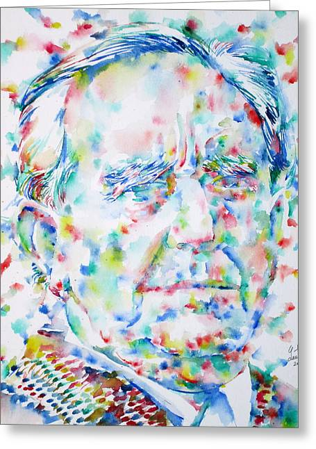 Lord Of The Rings Greeting Cards - J. R. R. TOLKIEN - watercolor portrait Greeting Card by Fabrizio Cassetta
