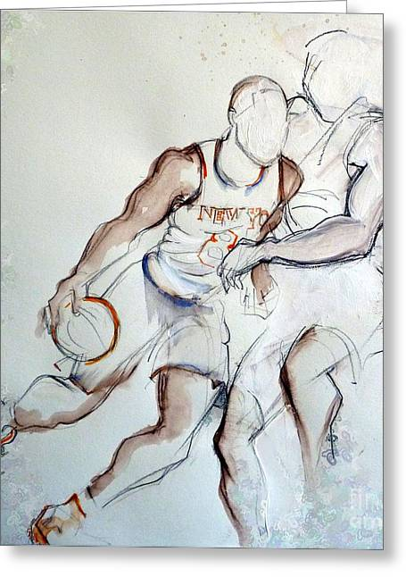 Knicks Greeting Cards - J. R. Smith Greeting Card by Carolyn Weltman