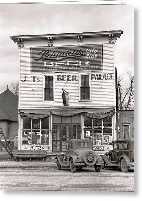 False Front Greeting Cards - J. T. s BEER PALACE  1940 Greeting Card by Daniel Hagerman