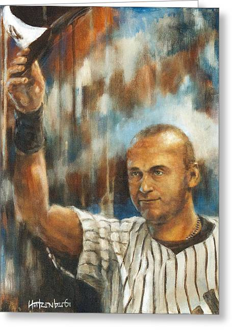 Player Greeting Cards - Jeter Greeting Card by Josh Hertzenberg