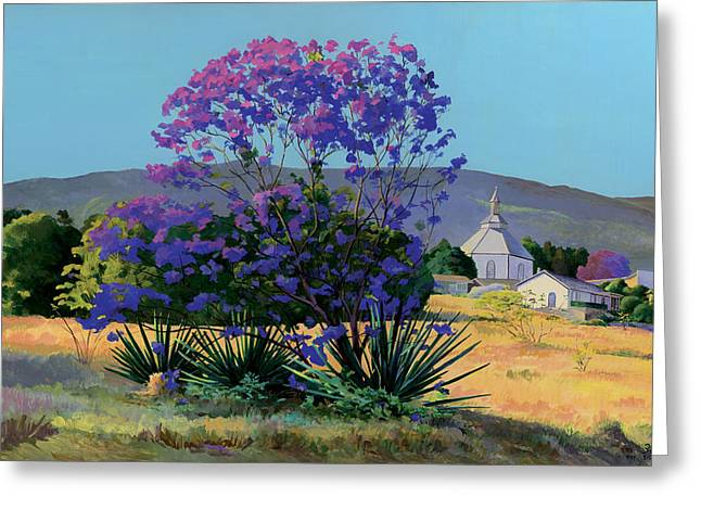 Locations Paintings Greeting Cards - Jacaranda Holy Ghost Church in Kula Maui Hawaii Greeting Card by Don Jusko