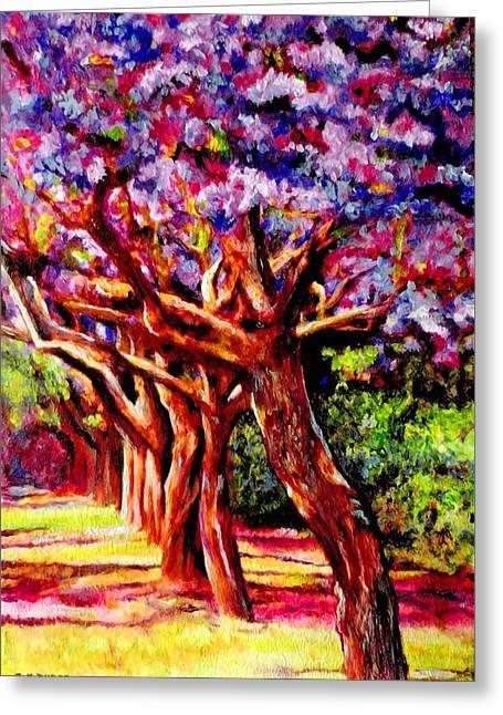 Violet Blue Greeting Cards - Jacaranda Lane Greeting Card by Michael Durst